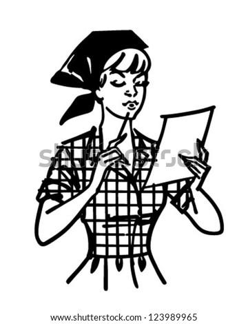 Woman Checking List - Retro Clipart Illustration - stock vector