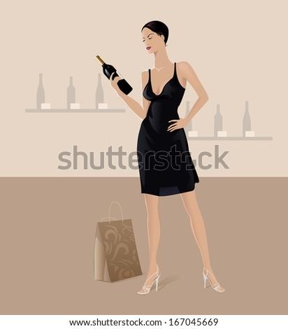 Woman Choosing Wine - stock vector