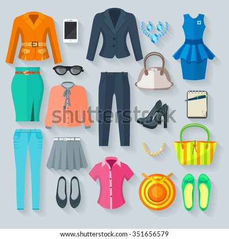 Woman clothes collection color icons set of pantsuit skirt blouse dress jeans shoes and accessory flat isolated vector illustration - stock vector