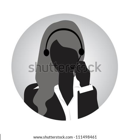 woman customer service silhouette - stock vector