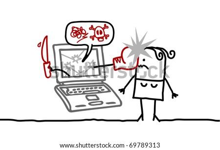woman & cyberbullying - stock vector