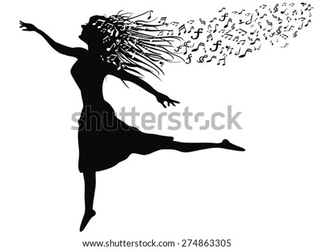 woman dancing with music note - stock vector