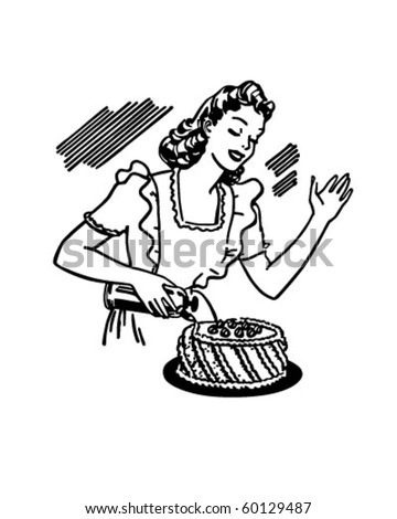 Woman Decorating Cake - Retro Clip Art - stock vector