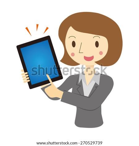 Woman described in tablet terminal - stock vector