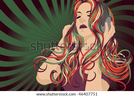 Woman DJ with colorful hair listening to music with headphones. - stock vector