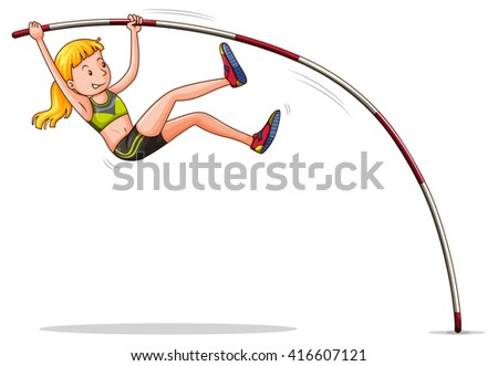Woman doing high jump illustration