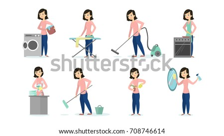 woman doing household chores on white background cleaning and ironing cooking and vacuum cleaning