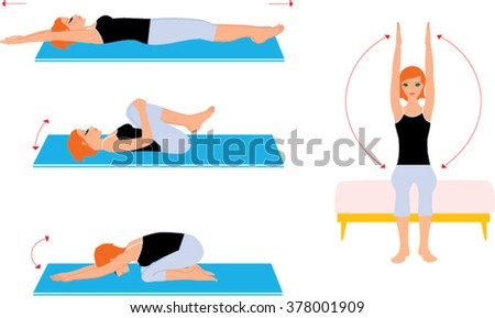 Woman doing stretching in the morning. Stretching exercises set. Woman stretching set. Girl doing stretching workout.