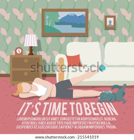 Woman doing workout at home fitness lifestyle time to begin poster vector illustration - stock vector