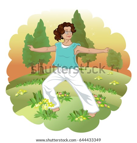 Woman doing yoga outside. Exercise and nature.
