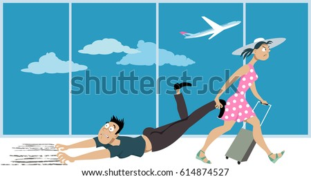 Woman dragging a man who's affected by a fear of flying through an airport, EPS 8 vector illustration