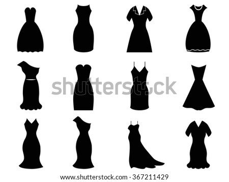 woman dress icons set - stock vector