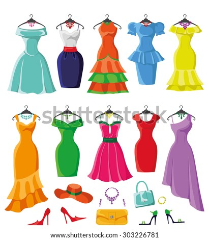 Woman dresses on a hanger and accessories set.Summer party. Short and long elegant bright color design,ten lady dress,handbags,hat,shoes collection.Vector art image illustration,isolated on background - stock vector