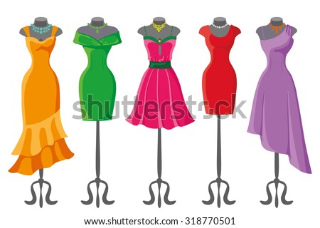 Woman dresses on a mannequin.Summer Fashion party. Short and long elegant bright color polka dot design lady dress collection. Vector art image illustration, isolated on background - stock vector