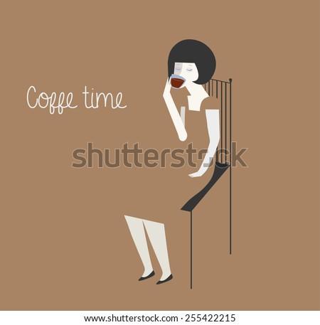 Woman drinking coffee or tea. Vector illustration - stock vector