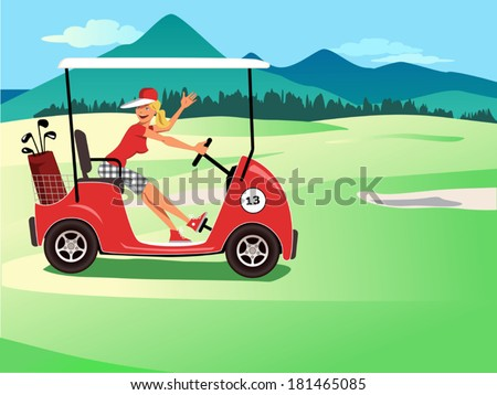 Woman driving a golf cart smiling and waving, beautiful golf course landscape on the background, vector cartoon - stock vector