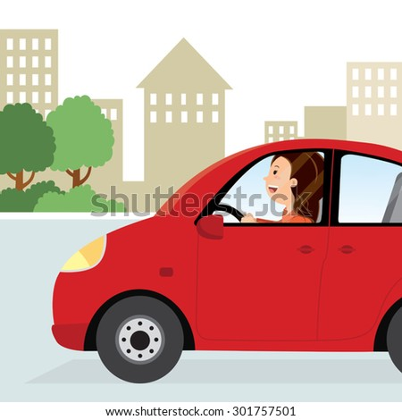 Woman driving to work. Happy young woman driving the car in the city. - stock vector
