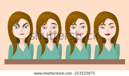 woman emotions - stock vector