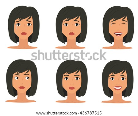 Woman emotions expression icons and beauty woman emotions vector. - stock vector