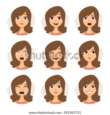 Woman emotions expression icons and beauty woman emotions vector. Isolated set of woman avatar expressions face emotions vector illustration.  - stock vector
