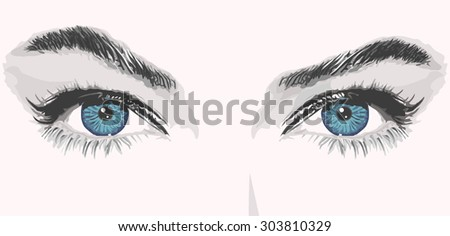 woman eyes lashes beauty face raised eyebrow portrait vector illustration - stock vector