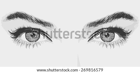 Woman eyes vector illustration monochrome portrait