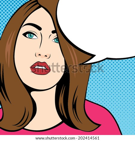 Woman Face Comic with Speech Bubble, Pop Art Style