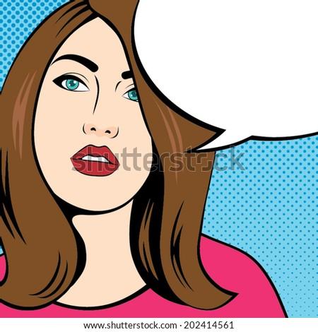 Woman Face Comic with Speech Bubble, Pop Art Style  - stock vector