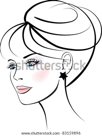 Woman face. Female portrait. Colorful vector illustration. - stock vector