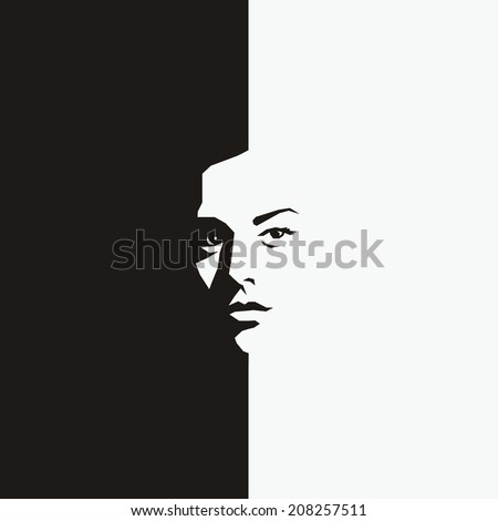 Woman face - half black half white - vector illustration - stock vector