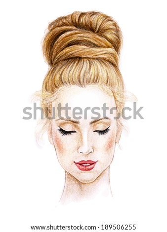 Woman face. Hand painted fashion illustration. Pen?il on textured paper. Vintage style. Vector. - stock vector