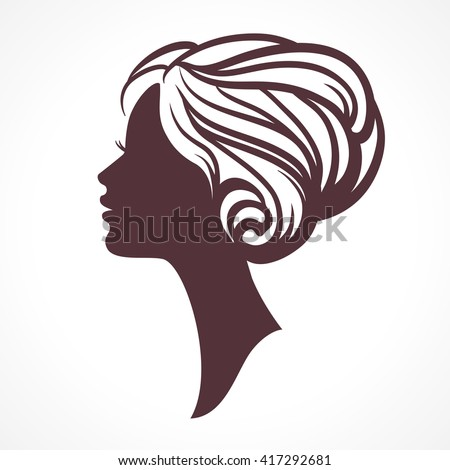 Woman face silhouette. Female head  with stylish hairdo - stock vector
