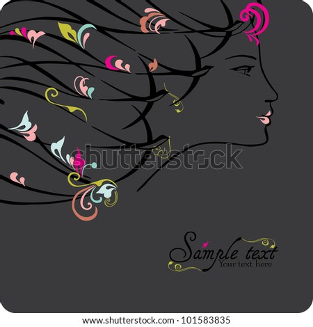 Woman face, vector illustration. - stock vector