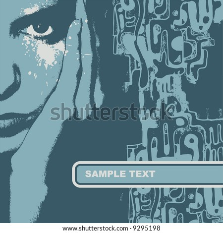 Woman face, vector illustration. CD cover. - stock vector