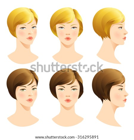 Woman face. Vector set of beautiful face. Face in front. Face in profile. Blond hair, brunette hair, Brown hair - stock vector