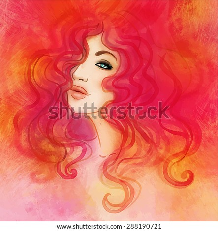 Woman face. Watercolor fashion illustration. - stock vector