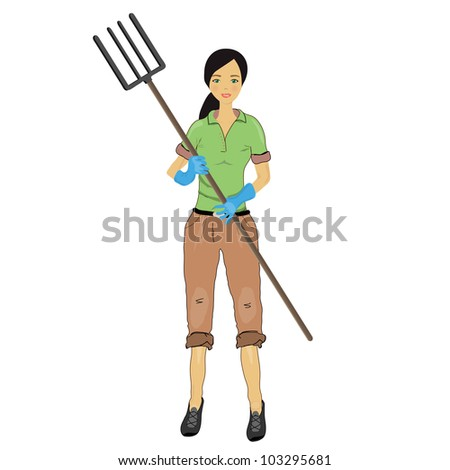 Woman farmer with a pitchfork in his hand, vector image