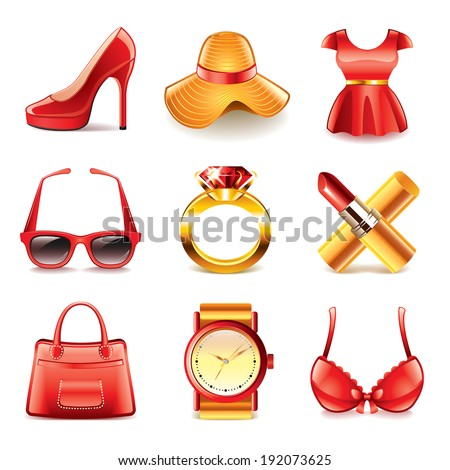 Woman fashion and shopping icons detailed vector set - stock vector
