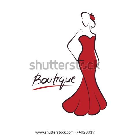 woman fashion logo, vector - stock vector