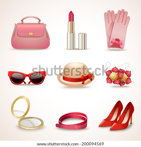 Woman fashion stylish casual shopping accessory collection icons set isolated vector illustration - stock vector