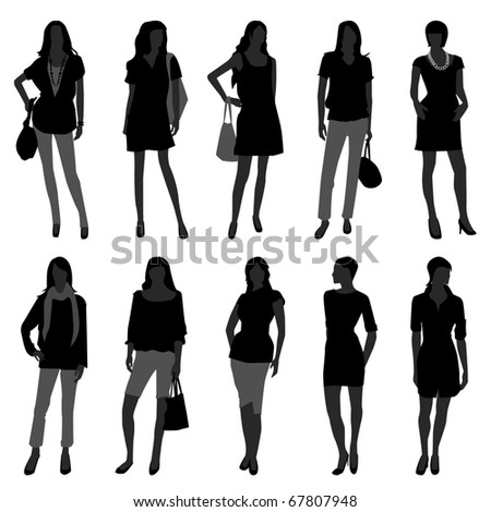 Woman Female Girl Fashion Shopping Model - stock vector