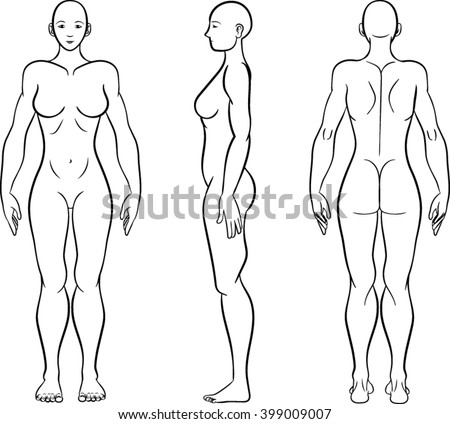 woman figure template outline vector illustration stock vector
