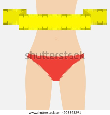 Woman figure waist in red underwear.  Measuring tape. Flat design. Vector illustration - stock vector