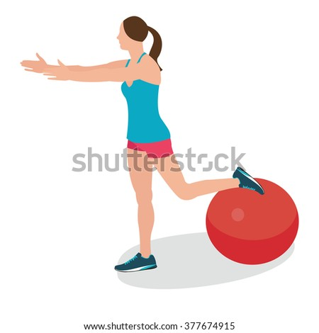 woman fitness position using stability ball excercise gym training workput balance female vector - stock vector