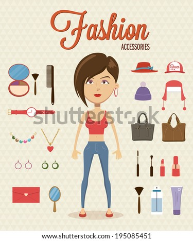 Woman flat character design with element and accessories. Vector illustration - stock vector