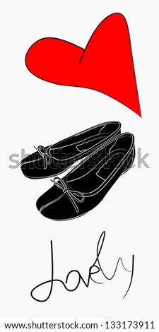 Woman flat shoes with red heart - stock vector