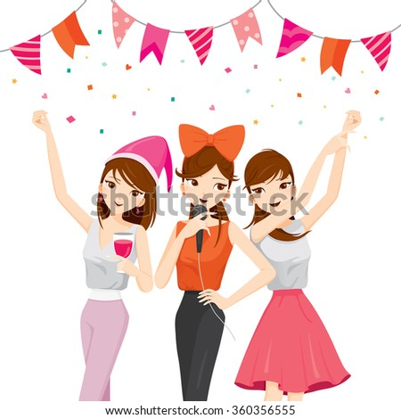 Woman Fun In Party With Drinks, Singing, Dancing, Drinking, Corporate, Banquet, Feast, Company, Celebration - stock vector