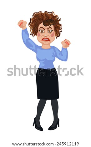 woman furious shouts and waving fists - stock vector
