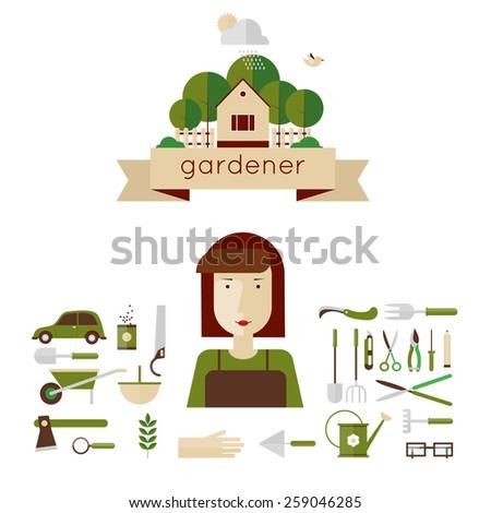 Woman gardener and garden tools. Environmental activities. Gardening icons set. The gardener's house. Home and garden. Modern flat style. Vector illustrations. - stock vector