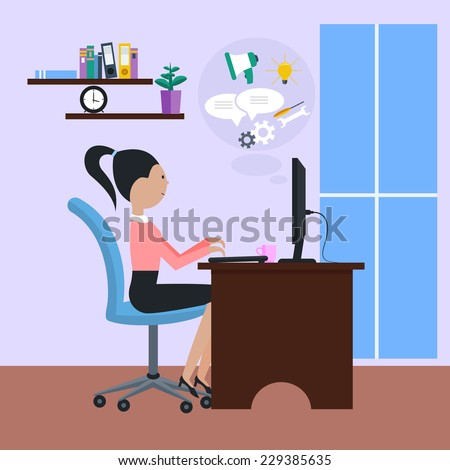 Woman girl sitting on chair at table in front of computer monitor and cartoon flat design style. Side view of female office worker using computer at desk in office near window - stock vector